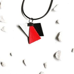 COPY - Abstract brown leather pendant necklace